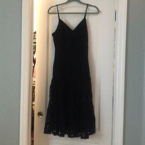 Black Lace Tiered Midi Dress